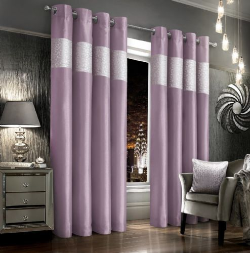 MAUVE SILVER VELVET GLITZY FAUX SILK DESIGN LINED RINGTOP EYELET LUXURY MODERN CURTAINS